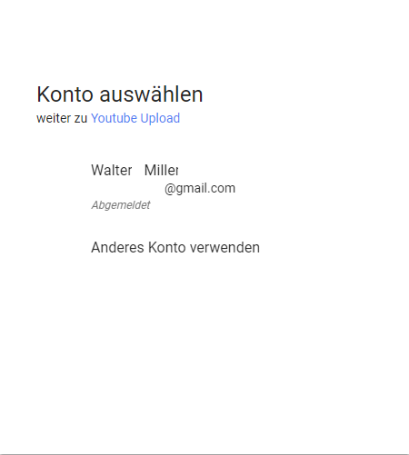 Youtube Kanal erster Upload